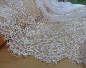 1yard Chantilly rose Lace Fabric in pure white for Bridal Gowns, Mantilla  Veils,eyelash lace