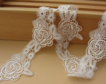 5cm White lace trim for DIY sewing,white ROSE lace trimming,flower hollow up trim