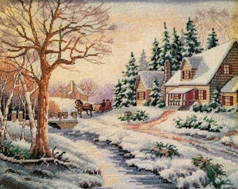 Winter Outing Finished Cross Stitch by Dimenstions