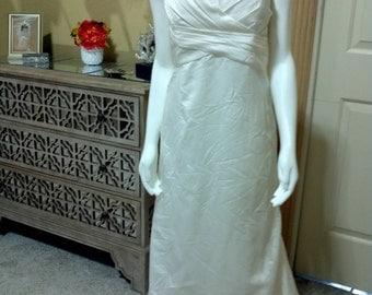 DAVID'S BRIDAL/MIKADO Ivory Gown/Ruffle Back Wedding Dress style T9938 /Halter Wedding Dress/Garden Wedding Dress/Summer Wedding Dresss 10