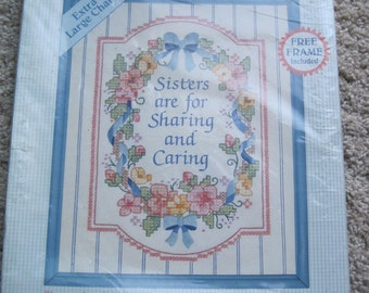 "Stamped Cross Stitch Kit - Sisters Are for Sharing - Stitchables #72131 - 8"" x 10"" - NEW NIP - Vintage 1993"