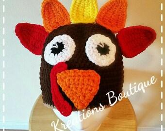 Turkey Hat! Crochet Turkey Hat. baby/Adult Turkey Hat!