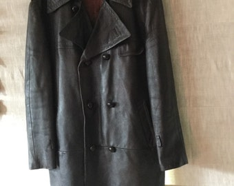 Vintage Long Leather Coat
