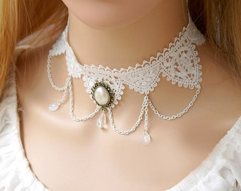 Bridal White Lace Choker Necklace, Gothic Choker