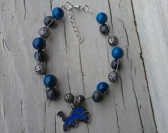 Detroit Lions Beaded Bracelet