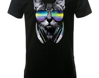 DJ Cat Men's Elongated T-Shirt Street Wear, Curved Hem Hipster
