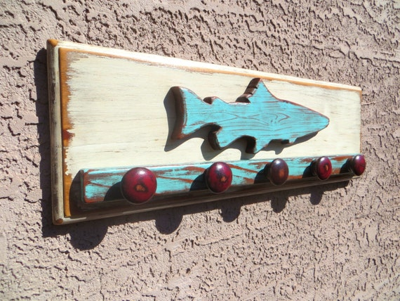 Fish Wall Decor, Fish Decor, Beach Decor, Distressed Wall Decor, Beach Wall Hanging Rustic Fishing Cabin Decor, Kitchen Mudroom Decor, Trout
