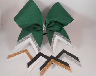 Cheer Bow Custom FAST 2 week TURNAROUND Just For Your School Team! by BlingItOnCheerBowz Black Silver Gold White Yellow Hunter Forest Green
