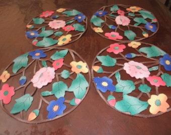 Linen Plate Mats with Flowers