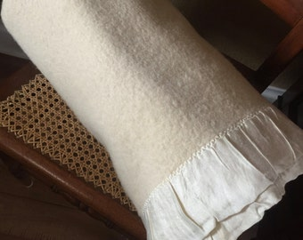 Mumbly Off White Wool Blanket
