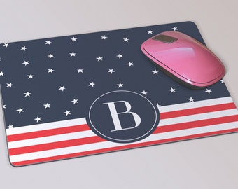 Fabric Mousepad, Mousemat, 5mm Black Rubber Base, 19 x 23 cm - Stars and Stripes USA Red, White and Blue Monogrammed Mousepad Mousemat