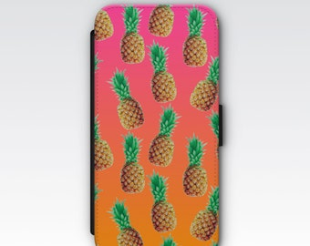 Wallet Case for iPhone 8 Plus, iPhone 8, iPhone 7 Plus, iPhone 7, iPhone 6, iPhone 6s, iPhone 5/5s - Pineapple Pattern case