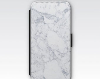 Wallet Case for iPhone 8 Plus, iPhone 8, iPhone 7 Plus, iPhone 7, iPhone 6, iPhone 6s, iPhone 5/5s, iPhone 4 - White Marble Pattern Case