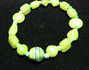 Lime Green and Dark Green Glass Beadand Stone Stretch Bracelet