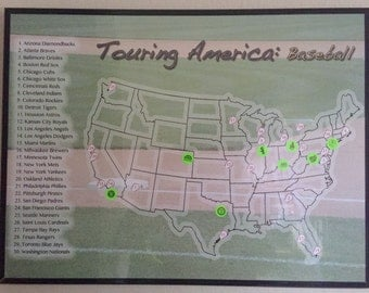 MLB Stadium Checklist USA Map Poster with Stickers- 18 x 24