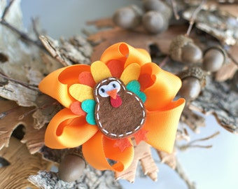 Thanksgiving Turkey Fall Girl Bows Hair Clip Accessory Boutique Picture Photo Prop Brown Orange Yellow  Toddler Teen