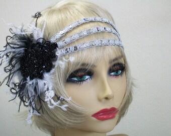 Great Gatsby headpiece, Flapper woman headband, 1920s headband, Roaring 20s, Silver sequin headband, 1920s hair accessory, Vintage inspired