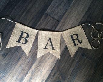 Bar Burlap Banner, Bar Banner, Bar Sign, Bar Burlap Banner, Bar Banner
