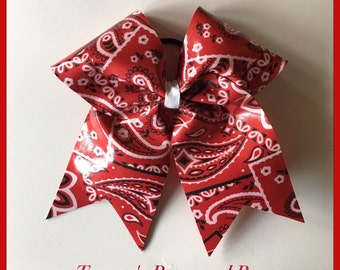 Red Bandana vinyl Cheer Bow