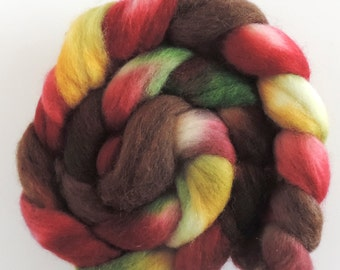 hand dyed Corriedale top, Wild Moss, roving for spinning and felting 120gr/4,2oz