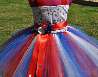 Girls Patriotic Dress, Red White Blue Toddler Dress, 4th of July Flower Girl, Patriotic Infant Baby Dress, Red White Blue Girls Dress