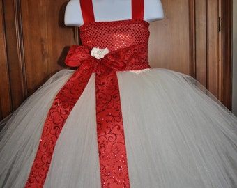 Girls Red Ivory Holiday Dress, Toddler Christmas Dress, Infant Holiday Dress, Red Ivory Baby Christmas Dress, Holiday Christmas Tutu Dress