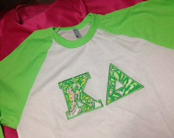 Kappa Delta Neon Green Lilly Baseball shirt in Size Extra Small to Extra Large