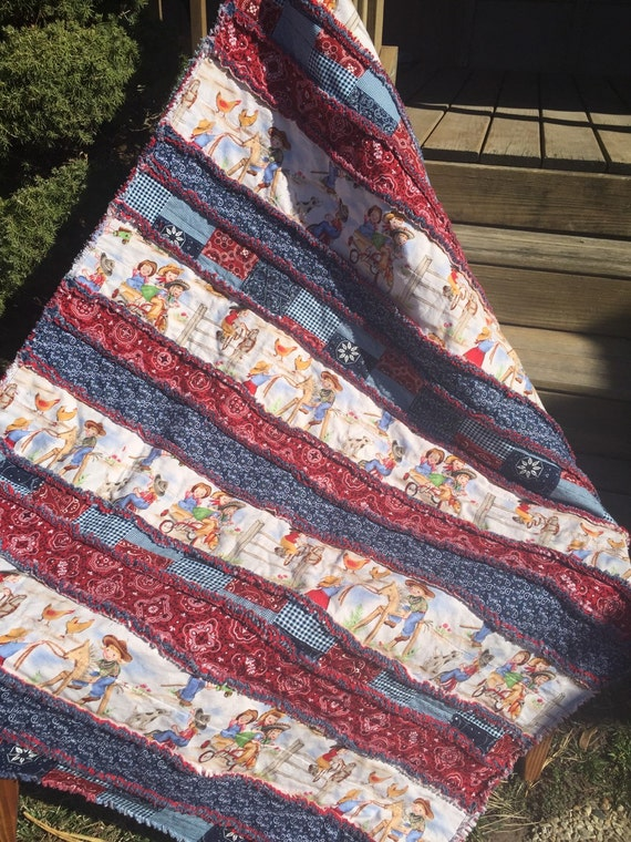 Baby Rag Quilt In a Cowgirl Design with Red and Blue
