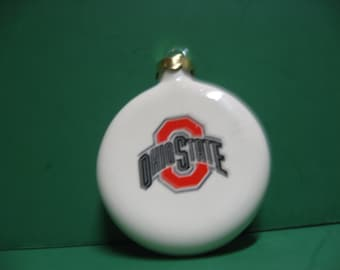 A 3 inch diameter round Ohio State Buckeye hanging Christmas tree ornament..Awesome!!!