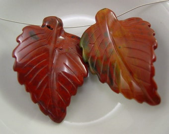 Orange Bloodstone Carved Leaf Bead.  2 Leaves -  #5460