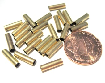 50pcs Raw Brass Round Tube Spacer Beads 10mm