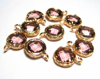 2pcs Light Pink Glass Charms Pendant Gold Plated Brass Framed Faceted Flat Round( No.08G)