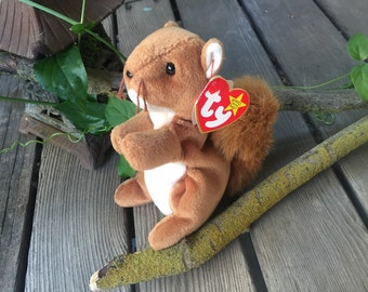 Ty Squirrel Beanie Babies Nuts the squirrel  Plush Toys Stuffed Animals 1990's Toy Collectables Childrens Toys Plush Animals Squrials Brown