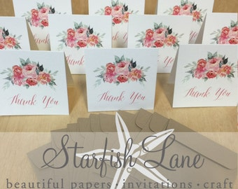 Watercolour Blooms Thank You Card Pack/ 10 cards 99mmx99mm when folded & 10 Envelopes