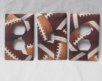Football Light Switch Plate Outlet Plug Cover Set Custom