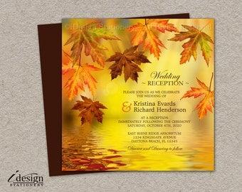 Fall Wedding Reception Only Invitation | DIY Printable Falling Leaves Wedding Reception Only Invitations | Autumn Leaves Invites