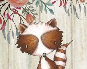 raccoon woodland printable art