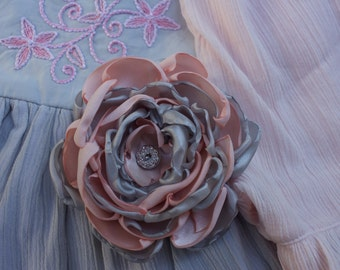 m2m Grey/Pink Ana: Large Handmade Flower Hair Clip (or headband) with vintage button, m2m Well Dressed Wolf Gray/Pink Ana Dress