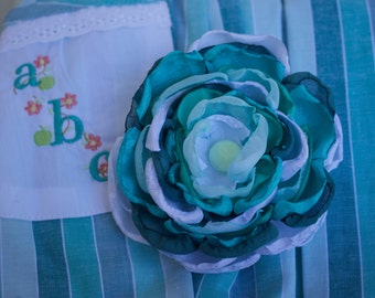 m2m School Days: Large Handmade Flower Hair Clip (or headband) with vintage button, m2m Well Dressed Wolf's ABC - 123 Blue School Days dress