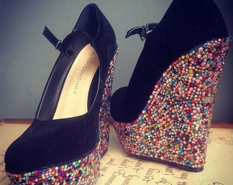 Gorgeous Jeweled velvet wedge customised high heel