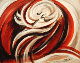 Red Black and White Abstract Painting, Modern Painting, Modern Art, Contemporary Art,