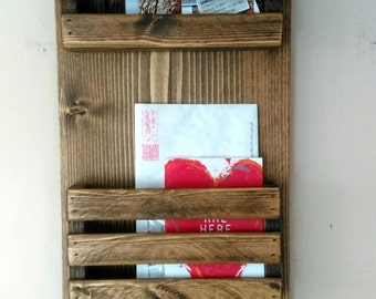 2 Tier Mail Organizer, Mail Holder, Mail,  Rustic Organizer, Personalized Option Available