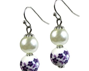 Li-Jacobs Porcelain Purple Floral Decal Drop and Pearl Earrings