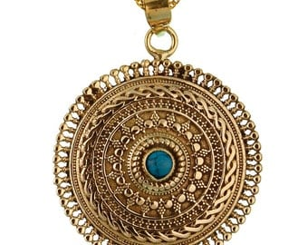 Brass pendant turquoise circles braid stone golden necklace nickel free antique jewelry tribal brass (No. ABR-128anu)