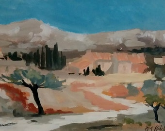 Original painting post impressionist art P M Rudelle French landscape signed listed artist framed Lawyer Solicitor small art  Gift
