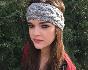 Grey Cable Knit Headband