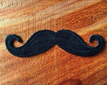 New Iron On Patch Embroidered Applique Black Handlebar Mustache Retro