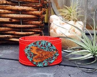 Upcycled Red Leather Cuff 'Dwell in Possibility'
