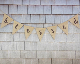 Thanksgiving Decor, Thanksgiving Banner, Blessed Burlap Banner, Blessed Bunting, Thanksgiving Burlap Garland, Happy Thanksgiving Sign