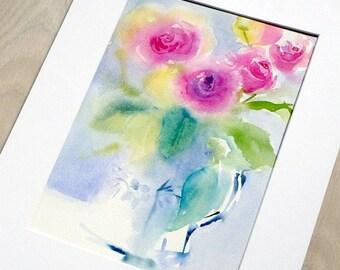 Pink roses in jug. Original watercolour.